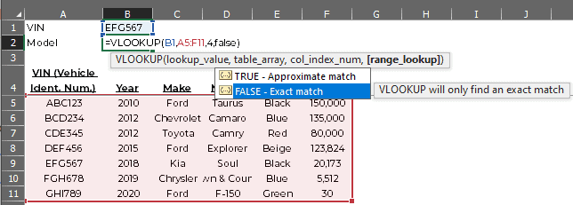Example VLOOKUP formula showing the options for the range_lookup field