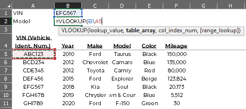 Example VLOOKUP formula with lookup_value and table_array not completely filled in