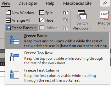 Image showing the steps to activate Freeze Panes in Excel